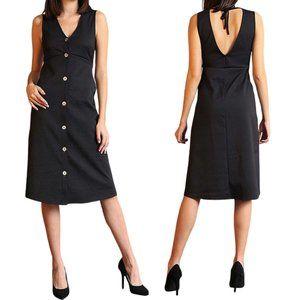 Sleeveless V neck Button Up Midi Dress